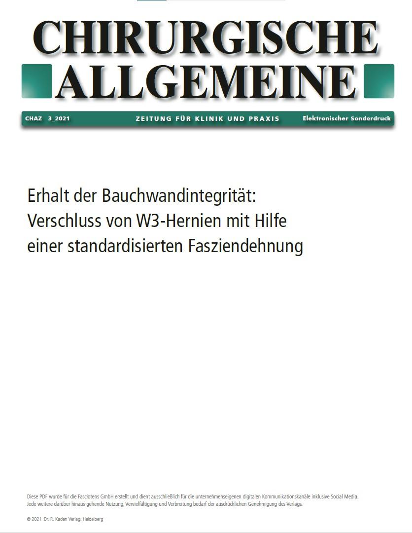 Chirurgische Allgemeine – Sonderdruck. Erhalt der Bauchwandintegrität. CHAZ 3_2021.
